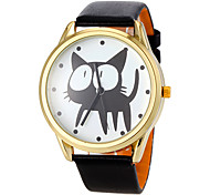 Women's Cute Cat Pattern Gold Case PU Band Quartz Wrist Watch (Assorted Colors) Cool Watches Unique Watches Fashion Watch