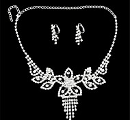 Silver- Plated Diamond-Studded Earrings & Necklace Set For Noble Ladies (1 Set)(G)