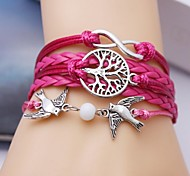 Leather Bracelet Multilayer Alloy Bird and Infinite Tree Handmade Bracelet