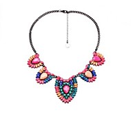 European Fashion Colorful Crystal Statement Necklace