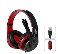 VYKON Superb USB Plug On-ear Headphones with Microphone & 1.8 m Cable (Black & Red)