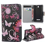 Copertura di cuoio nera Farfalle dell'unità di elaborazione con il basamento e la fessura per carta per Sony Xperia E C1605