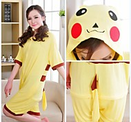 Cute Pikachu Yellow Cotton Adult Kigurumi Pajama For Summer Cartoon Sleepwear Animal Halloween Costume