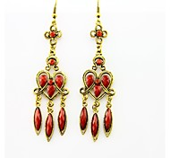 Retro Pastoral National Red Turquoise Ruby Earring(1 pair)
