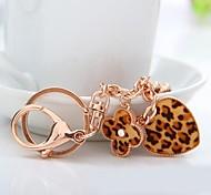 Fashion Alloy Diamond Leopard Grain Heart Key Chain(Leopard)(1 Pc)
