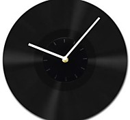 "11.8""W Modern Style All Black Gum White Hands Wall Clock"