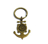 Vintage Clock Anchor Bronze Alloy Keychain(1 Pc)