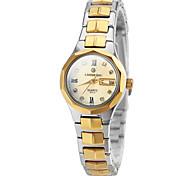 Women's Elegant Dial Calendar Gold Steel Band Quartz Wrist Watch (Assorted Colors)