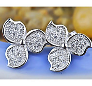 I FREE®Fashion Gift S925 Silver Mosaic Diamond Petals Shape Stud Earrings 2 pcs (1 pair)