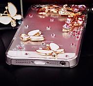 mariposa de diamantes y pétalos de flores cubierta del caso para iphone 5c