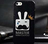 3D Crown Beard Rabbit Painting Relievo PC Hard Case for iPhone4/4S