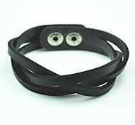 Toonykelly® Vintage Look Leather with Button Bracelet(Black)(1 Pc)