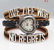 Women's Letter Cross Leather Weave Band Quartz Analog Bracelet  Watch(Assorted Colors)