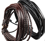 Bracelet/Leather Bracelet/Wrap Bracelet,Mens Blacelets Fashion Handmade Jewelry For Women/Couples Black 1 pcs