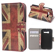 UK Flag Pattern PU Leather Case with Stand and Card Slot  for Alcatel One Touch Pop C5