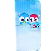 Lover Owl Pattern PU Leather Cover with Stand and Card Slot for iPhone 6/6S