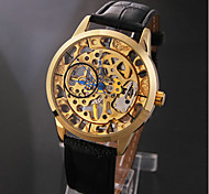 Men's Elegant Gold Skeleton Black Leather Band Manual Mechanical Wrist Watch