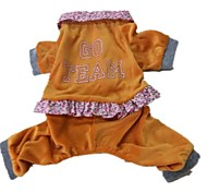 "Velvet ""GO"" Legs Pet Clothes Assorted Colors Orange ,Sizes (S-XL)for Pet Dog"