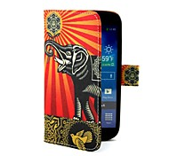 Peace Elephont Pattern PU  Leather  Full Body Case Cover with Card Holder for Samsung S4 I9500