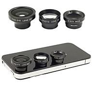 magnética 4 en 1 de gran angular con lente macro, lente de ojo de 180 pescados y 2x teleobjetivo para el iphone 5/4 / ipad (color clasificado)