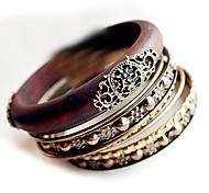 Retro Multilayer Carved Wood Bracelet