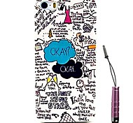 Okay English Letter Pattern Hard Case & Touch Pen for iPhone4/4S