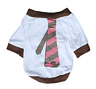 Smart Tie Style Cotton T-shirt for Dogs (White, Multiple Sizes Available)