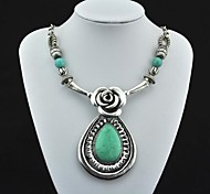 Toonykelly® Vintage Antique Silver Water Drop Flower Turquoise Necklace(Green)(1 Pc)