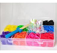 1800pcs Multicolor DIY Rainbow Color Loom Style Silicone Band Elastic Woven Bracelets,1 Looms ,1Hook+1Box