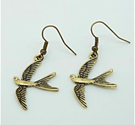 Ancient Bronze Vintage Swallow Bird Earrings Drop Earring Fashion Accessories Band Card