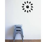 DIY Modern Style Little Black Butterfly Wall Clock
