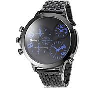 Männer großen runden Zifferblatt schwarz Stahlband-Quarz-Armbanduhr (farbig sortiert)