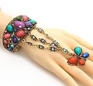 z&x® quatre disques bracelet en creux nationale de style rétro de fleurs avec anneau (plus de couleurs)