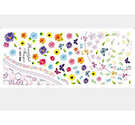 2PCS Colorful Flowers Water Transfer Printing Nail Stickers