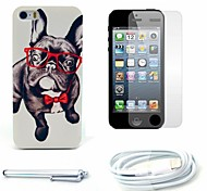 Glasses Dog Pattern Hard Case and Screen Protector and Stylus and Cable for iPhone 5/5S