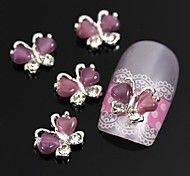 10pcs Flying Butterfly with Purple Cat's Eye Stone 3D Alloy Nail Art Decoration