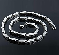 Men's Fashion Silver Square Titanium Steel Chain Necklace