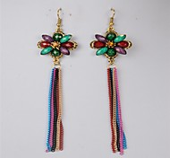 Fashionable Classics Multi-color Gem Multi-color Alloy Earrings(Multi-color)(1 Pair)