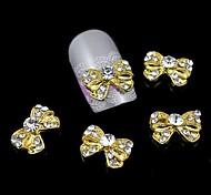10pcs bowknot d'or alliage de strass Accessoires ongles nail art décoration