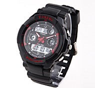 Time100 Children's Round Dial PU Strap Multifunction LED Dual-time Display Sport Electronic Watch