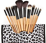 12PCS Wooden Handle Makeup Brush Set with Black and White Dots Pouch