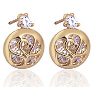 Women New Style Elegant Rose 18K Gold Plated Stud Earrings