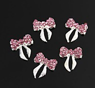 10pcs Glitter Pink Crystal Rhinestone Bowknot 3D Alloy Nail Art Decoration