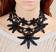 European Court Retro Pearl Big Flower Lace Necklace