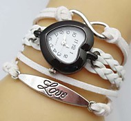 Women's Heart-Shaped Dial Love Infinity Leather Weave Band Quartz Analog Bracelet  Watch(Assorted Colors)