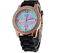 Women's Rhinestone Vintage Pattern Dial Silicone Band Quartz Wrist Analog Watch