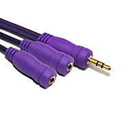 Single Earphone Jack to Double Jacks Adapter for(Purple) 0.5M 1.64FT