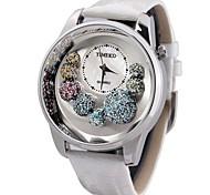 time100 donne quadrante rotondo del cuoio genuino diamanti cinghia shell quadrante orologio al quarzo strass