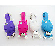 hipopótamo cabo mini dados anel mutil-funtional chave para iphone5s iPhone5, iphone5c e smartphone com porta micro USB