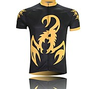 XINTOWN Men 's Scorpion  Breathable Polyester Short Sleeve Cycling Jersey -Black+Gold